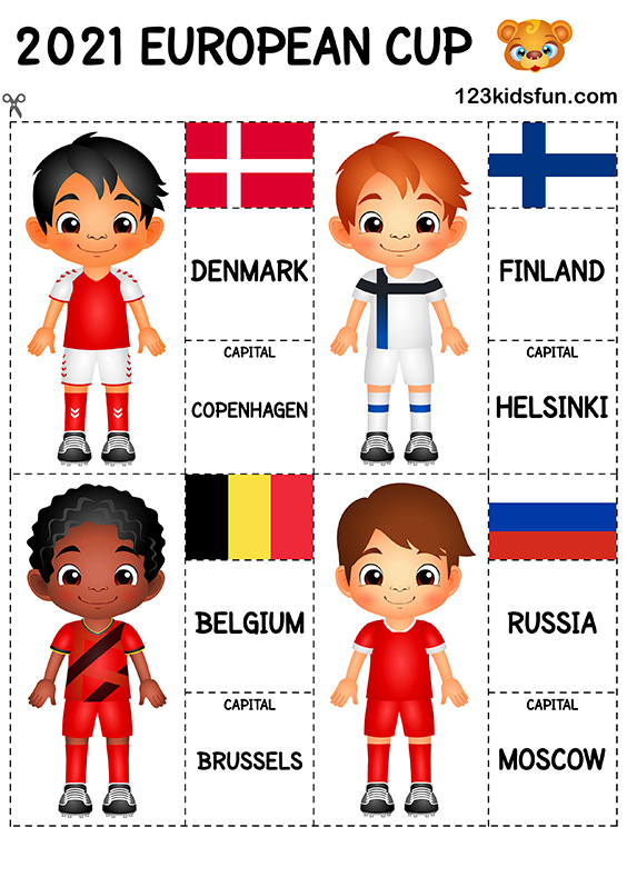 European Cup 2021 - Football Tracing Worksheets for Kids