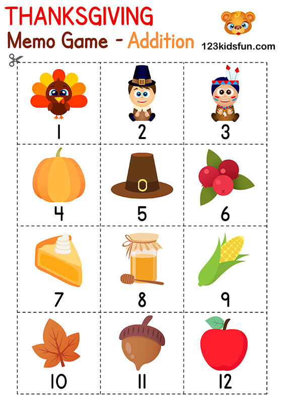 Thanksgiving Memory Game Printables