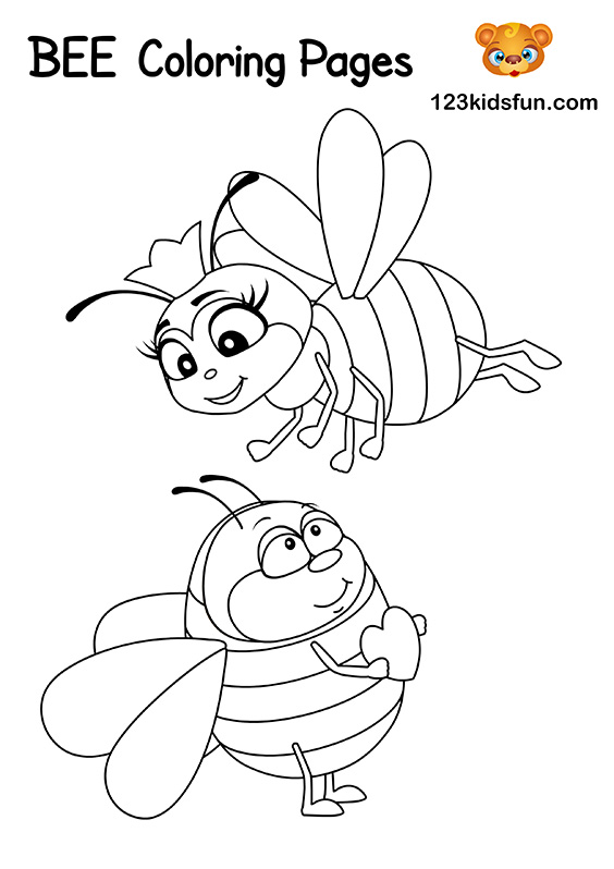 Free Bee Coloring Pages for Kids