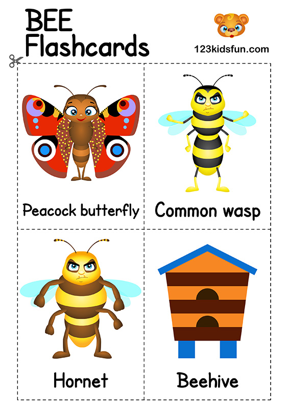 Bee Game - Free Flashcards for Kids Printables Preschool