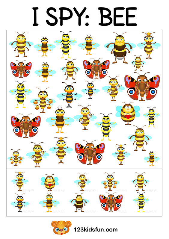 Bee Game - I Spy Printables for Kids