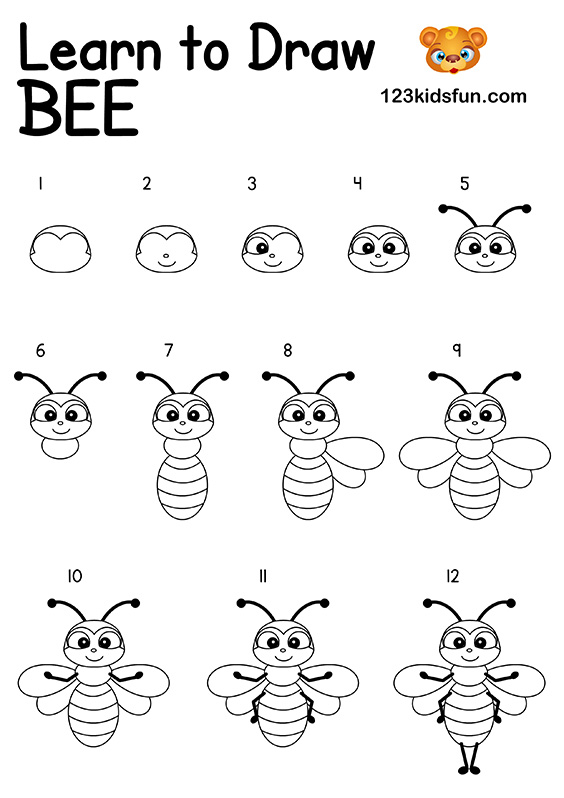 Bee Game - How to Draw Bee Step by Step Easy