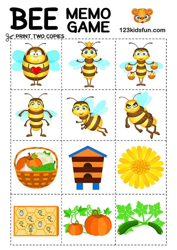 Bee Game - Free Memory Games for Kids Printable #kids #memory #game