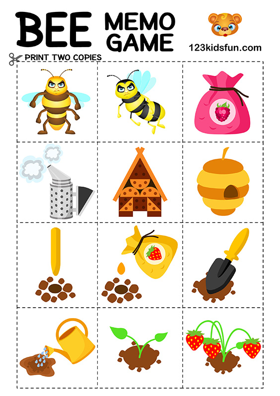 Bee Game Free Printables 123 Kids Fun Apps