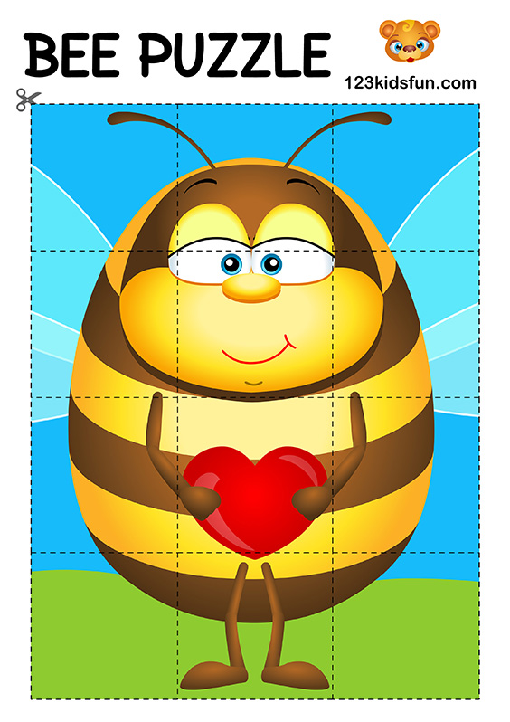 photo relating to Puzzles for Kids Printable called Bee recreation - No cost Printables 123 Youngsters Pleasurable Programs