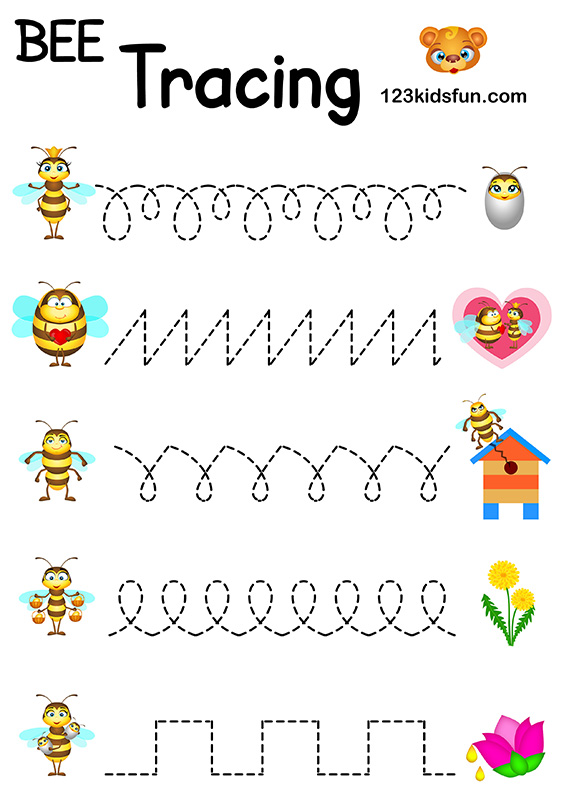 Bee Game - Free Tracing Printables Preschool Handwriting Practice. Worksheets Trace for Kids.