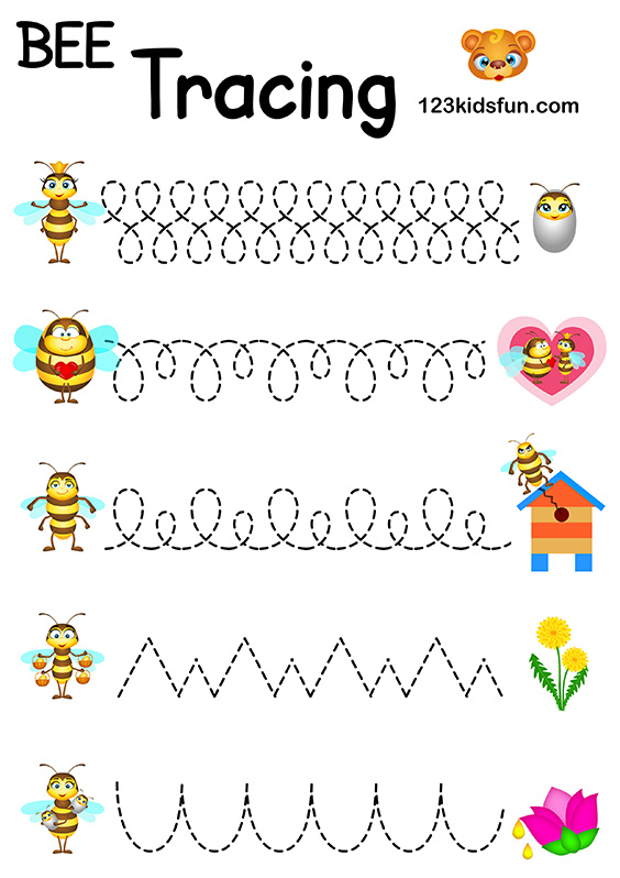 Bee Game - Free Tracing Printables Preschool Handwriting Practice. Worksheets Trace for Kids