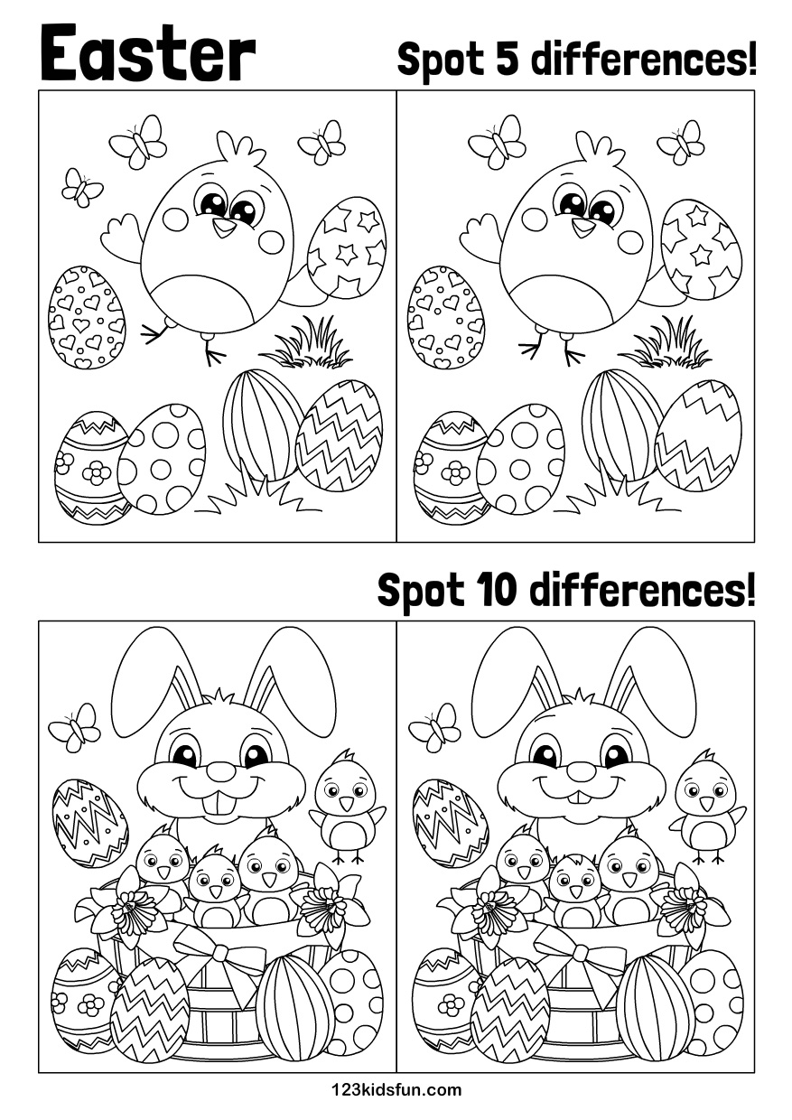 photo about Spot the Difference Pictures Printable referred to as Easter 123 Young children Pleasurable Programs