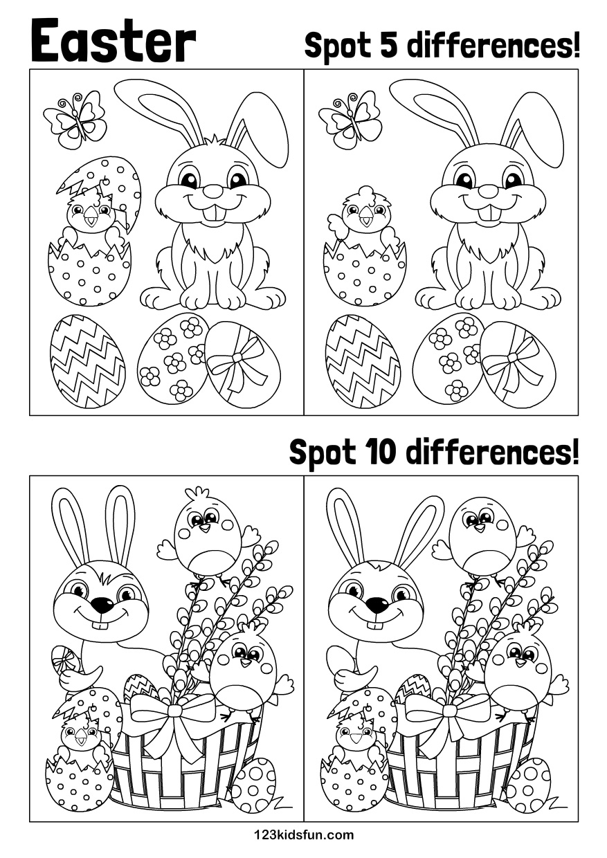 graphic regarding Find the Differences Printable named Easter 123 Youngsters Enjoyable Programs