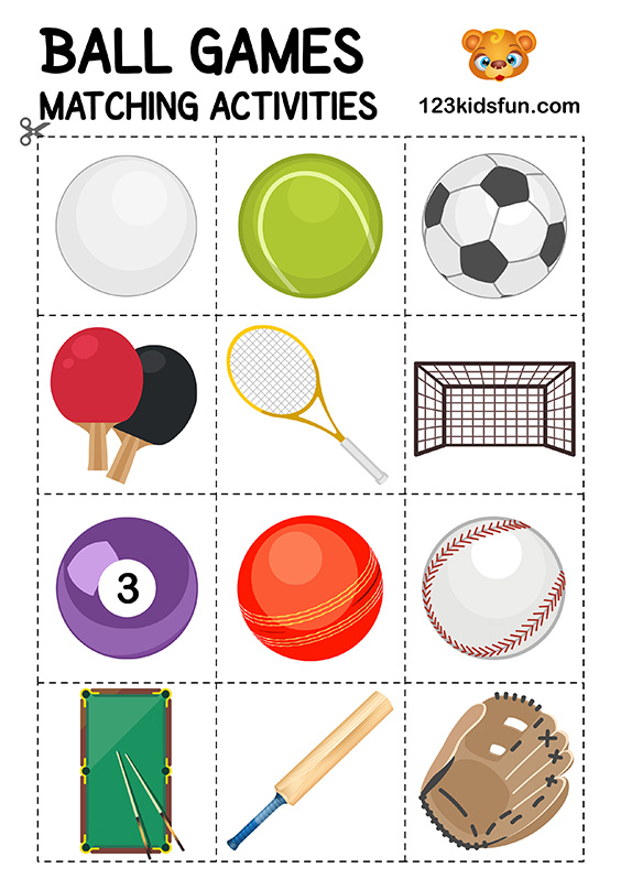 Ball Games. Matching Activities. Football 2018 World Cup. Free Worksheets and Activities.