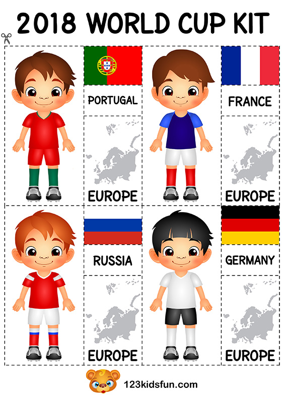 Football 2018 World Cup Kit. Free Worksheets and Activities for Kids.