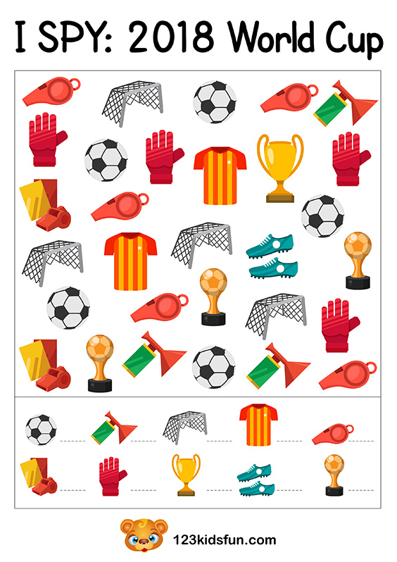 I SPY - Football World Cup 2018. Free Worksheets and Activities for Kids.