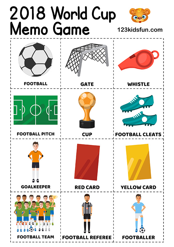 Memo Game - Football World Cup 2018. Free Worksheets and Activities for Kids.