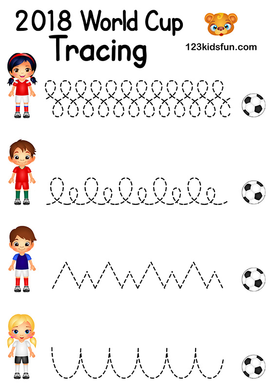 Tracing - Football World Cup 2018. Free Worksheets and Activities for Kids.