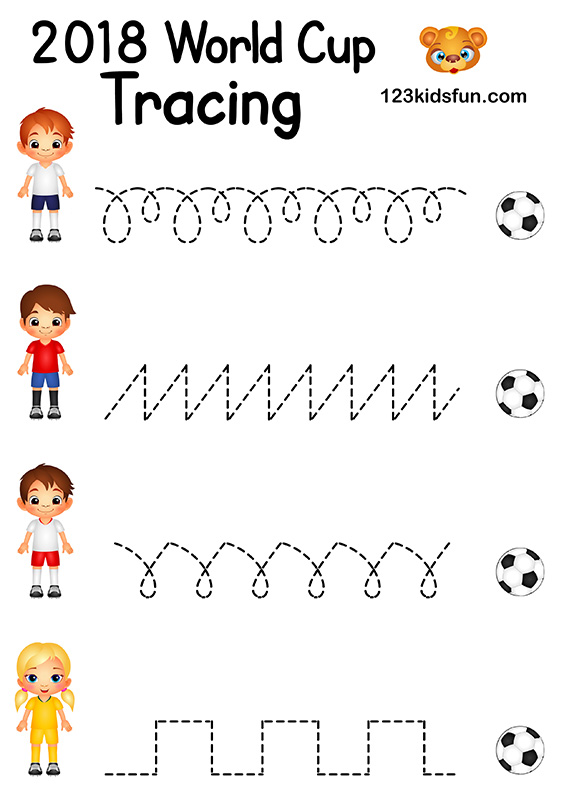 7718c45001b Tracing - Football World Cup 2018. Free Worksheets and Activities for Kids.