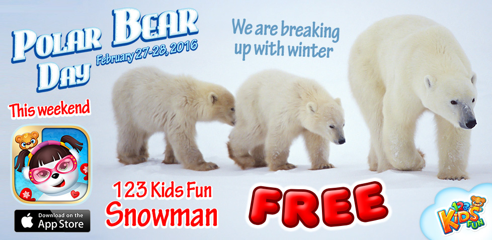 polar bear day winter apps 123 kids fun snowman promotion price drop