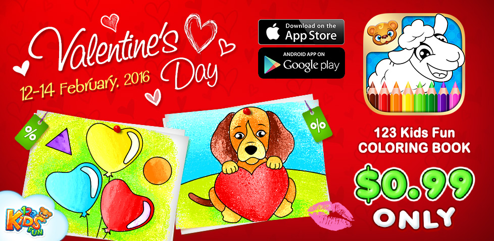 Happy Valentines Day 123 Kids Fun Coloring Book Only 0