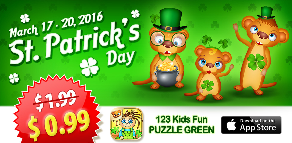 st. patricks day promotion price drop kids fun puzzle green