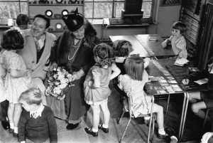 2nd November 1946:  The founder of the Montessori Schools, Maria Montessori (1870-1952) in a classroom in Acton, London with a group of children. Original Publication: Picture Post - 4244 - The Woman Who Made School Fun - pub. 1946  (Photo by Kurt Hutton/Picture Post/Getty Images)