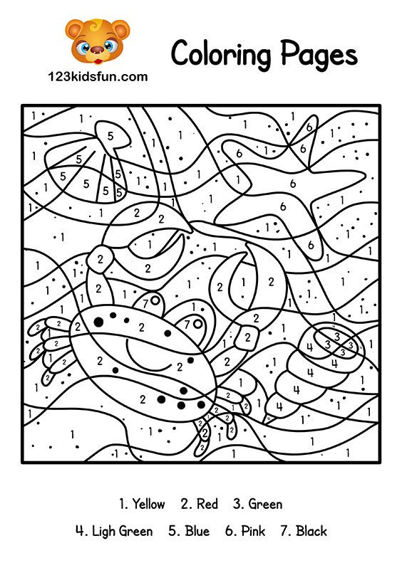 Color By Number Summer Coloring Pages for Kids Printable | 123 Kids ...