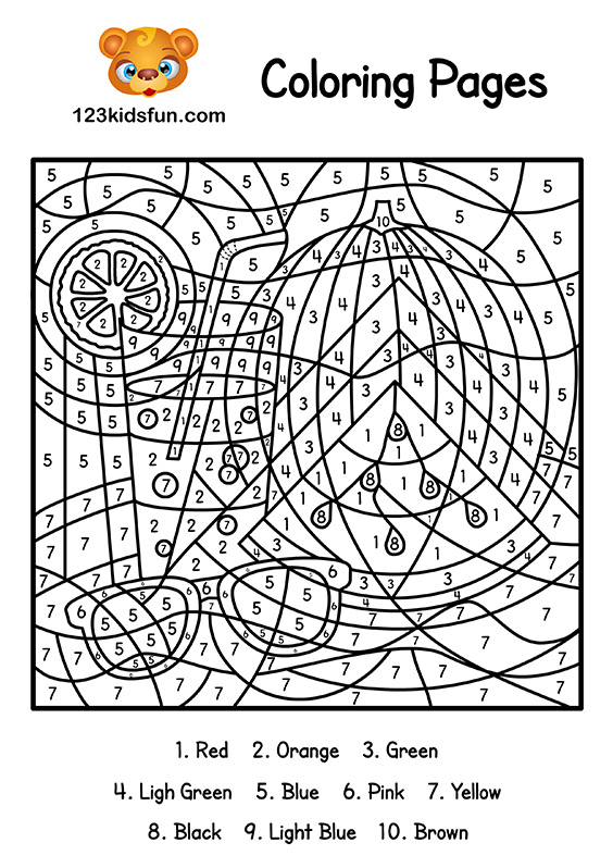 image about Printable Number Coloring Pages titled Colour As a result of Amount Summer months Coloring Internet pages for Little ones Printable