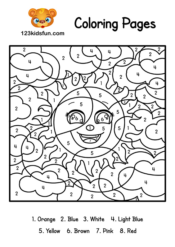 Color By Number Summer Coloring Pages For Kids Printable 123 Kids Fun Apps
