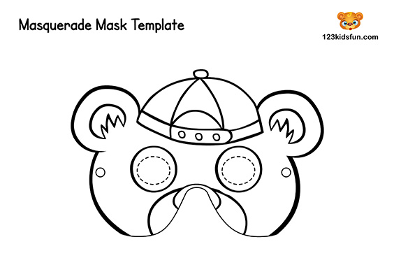 Animals Printable Coloring Masks: Bear