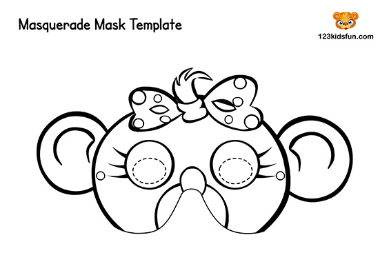 photograph about Printable Monkey Masks titled Cost-free Printable Masquerade Masks Template 123 Children Pleasurable Programs