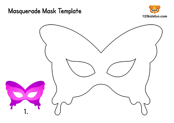 photo regarding Printable Masks for Kids identify Totally free Printable Masquerade Masks Template 123 Youngsters Enjoyable Programs