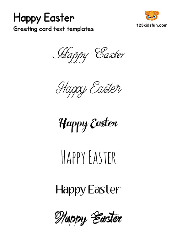 Easter Card Text Template