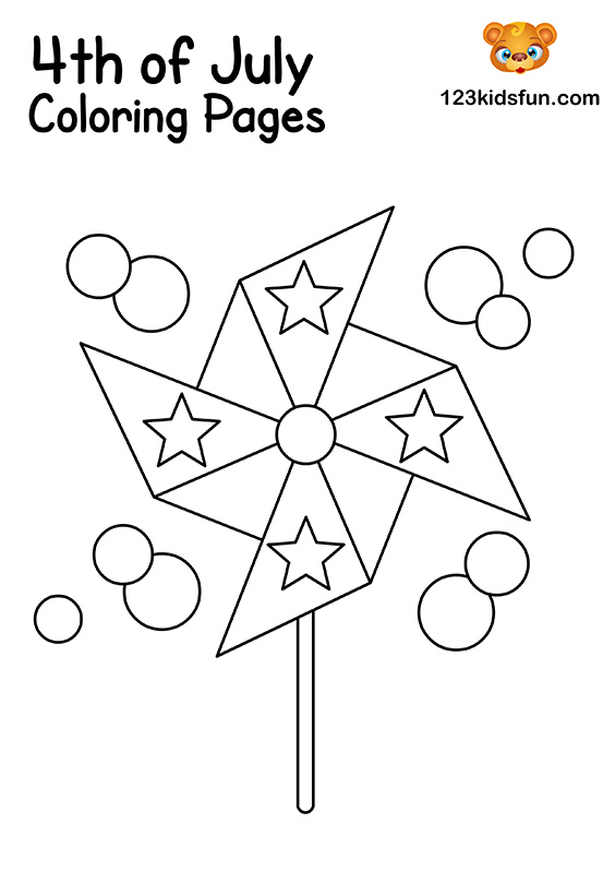 Patriotic Pinwheels Coloring Pages for Kids