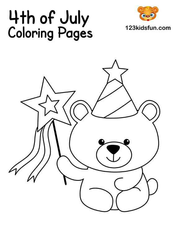 Patriotic Parade Wands Coloring Pages for Kids