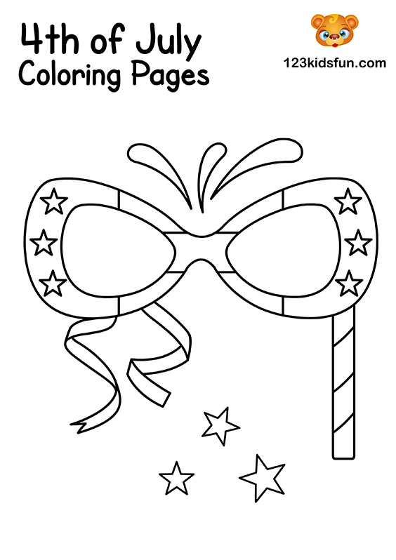Patriotic Glasses Coloring Pages for Kids