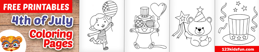 4th of July/American Independence Day Coloring Pages for Kids