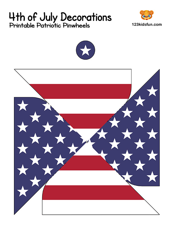Printable Patriotic Pinwheels - 4th of July Decorations