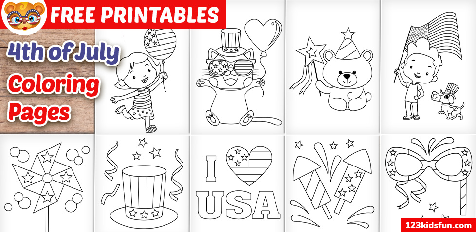 4th of July Patriotic Coloring Pages for Kids