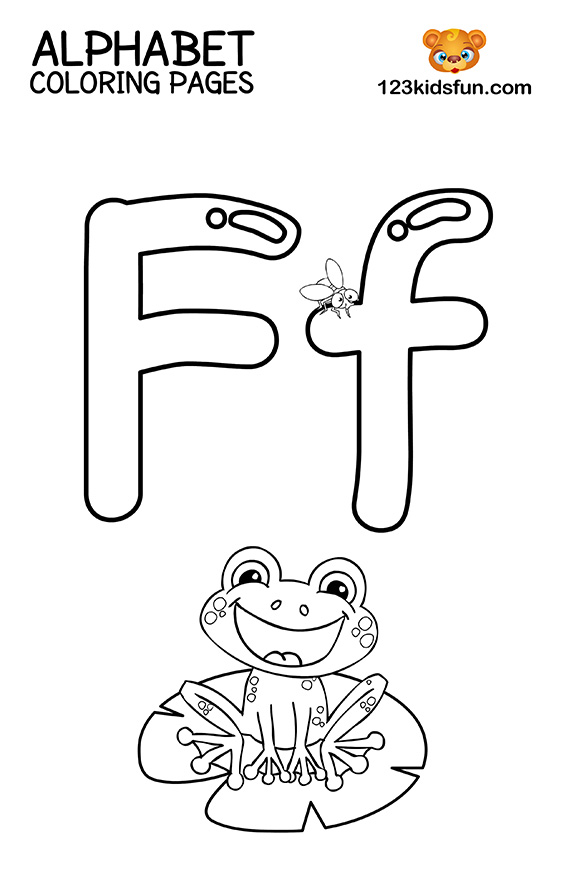 Alphabet Coloring Pages - F is for Frog