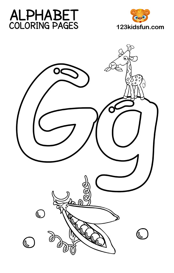 Alphabet Coloring Pages - G is for Green Pea