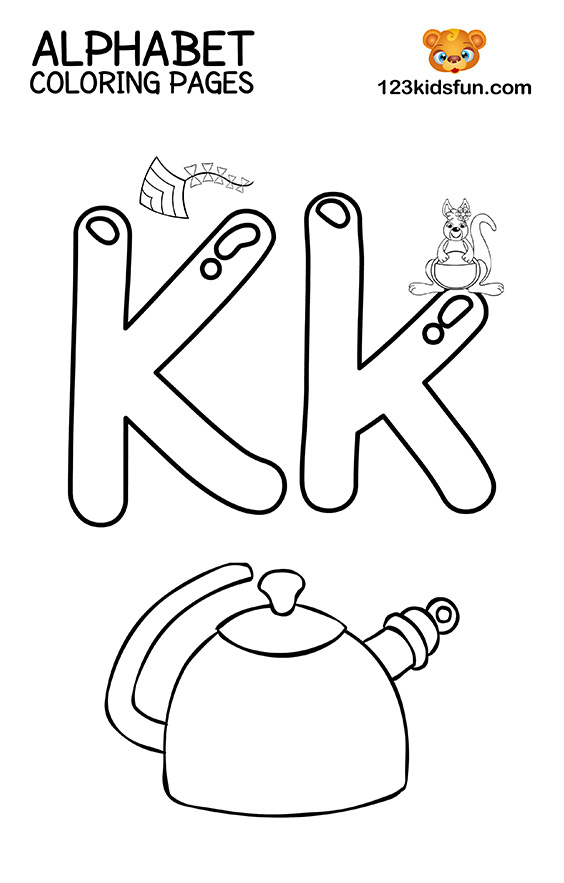 Alphabet Coloring Pages - K is for Kettle