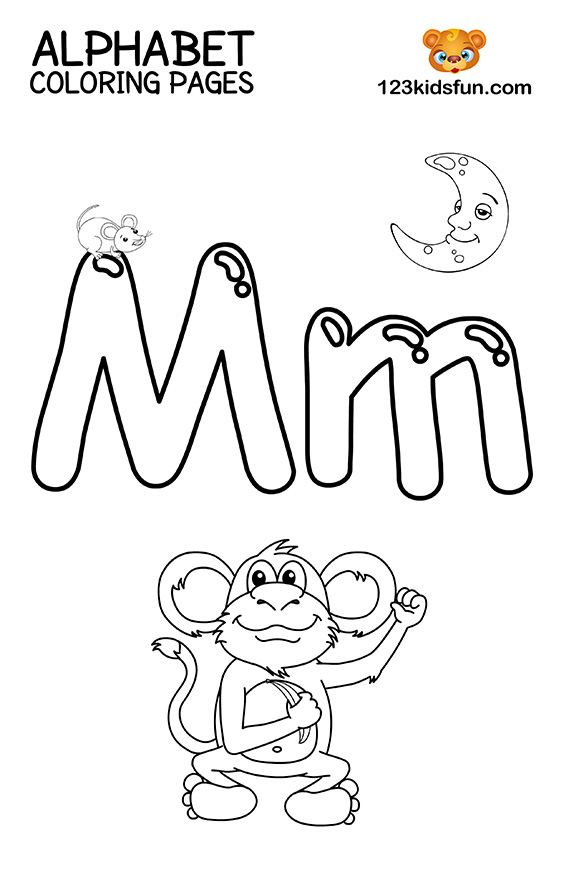 Alphabet Coloring Pages - M is for Monkey