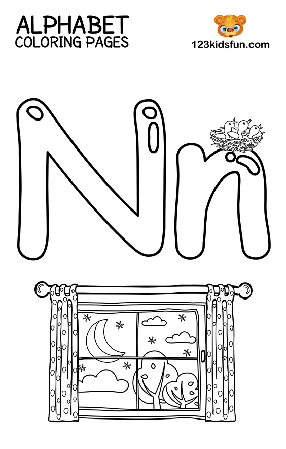 Alphabet Coloring Pages - N is for Night
