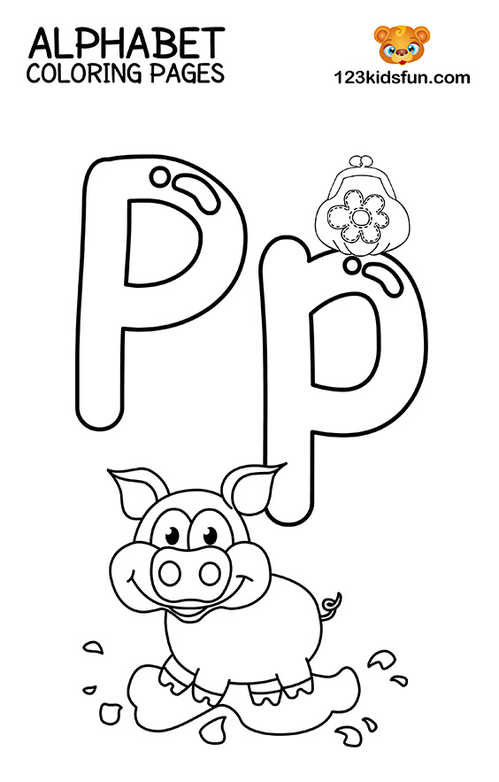Alphabet Coloring Pages - P for Pig