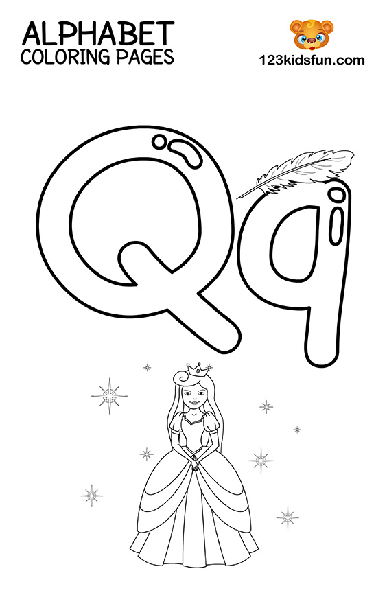 Alphabet Coloring Pages - Q is for Queen