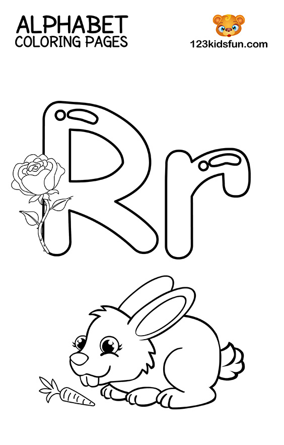 Alphabet Coloring Pages - R is for Rabbit