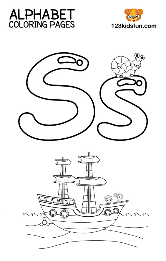 Alphabet Coloring Pages - S is for Ship