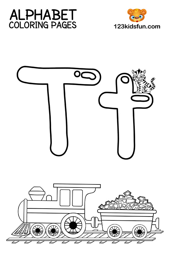 Alphabet Coloring Pages - T is for Train
