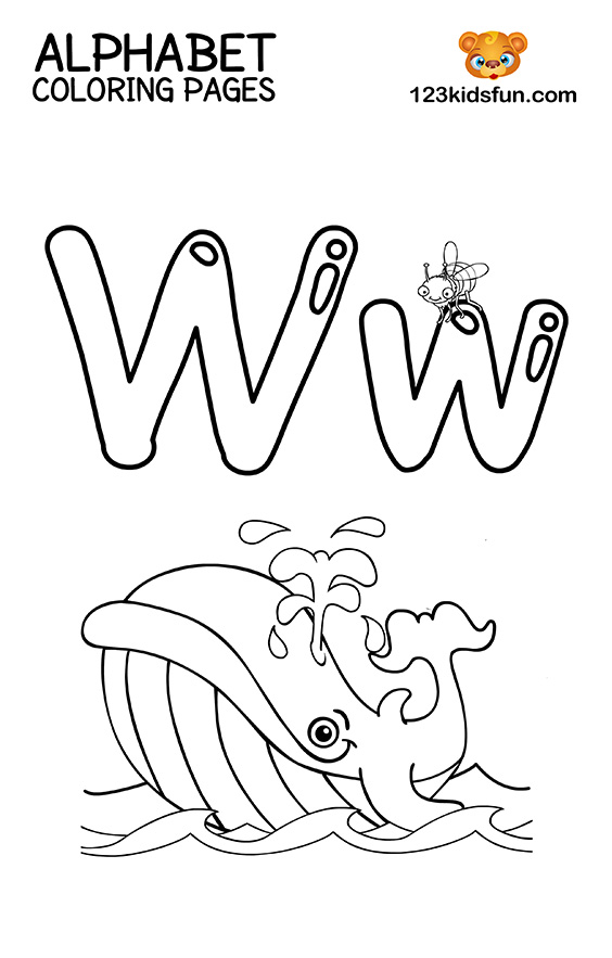 Alphabet Coloring Pages - W is for Whale