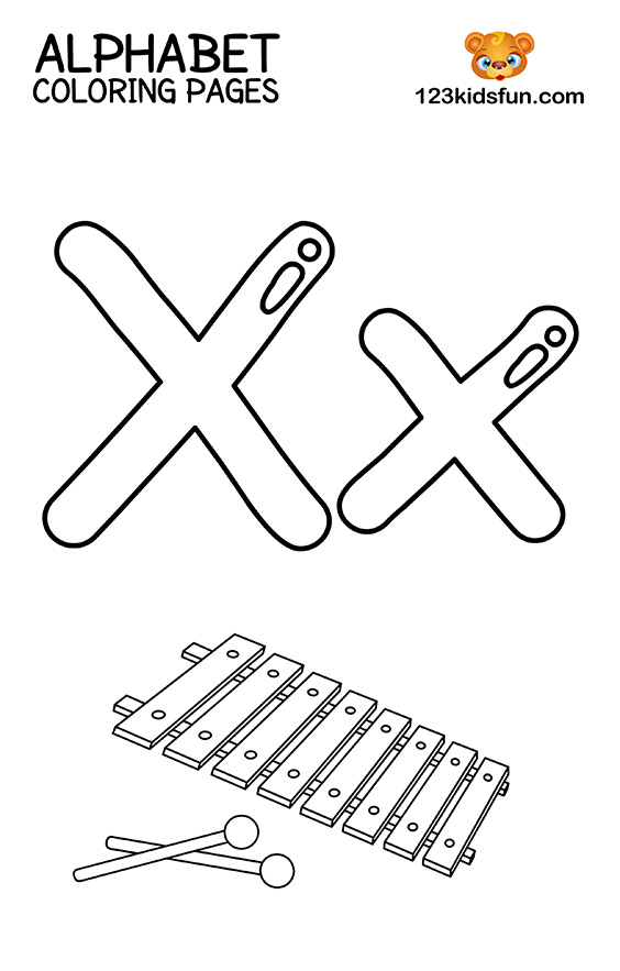 Alphabet Coloring Pages - X is for Xylophone