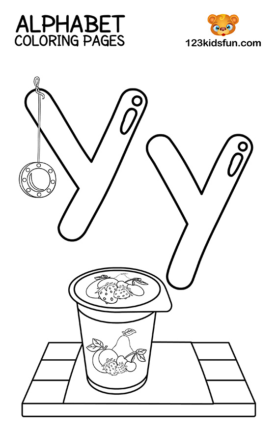 Alphabet Coloring Pages - Y is for Yo-Yo