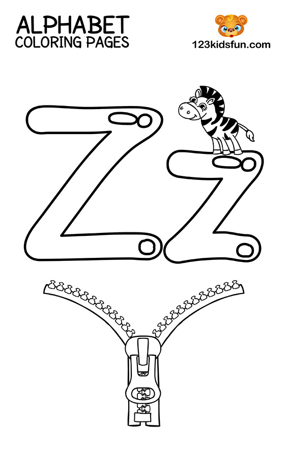 Alphabet Coloring Pages - Z is for Zebra